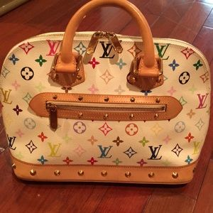 Louis Vuitton White Alma purse
